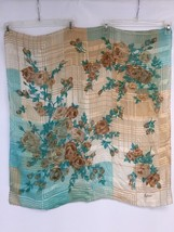 """Large Scarf 30"""" Square Teal Brown Rose Floral Checks Head Neck Cover - $14.70"""
