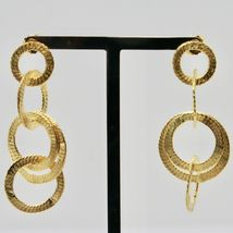 Drop Earrings Silver 925 Foil Gold Circles by Maria Ielpo Made in Italy image 3