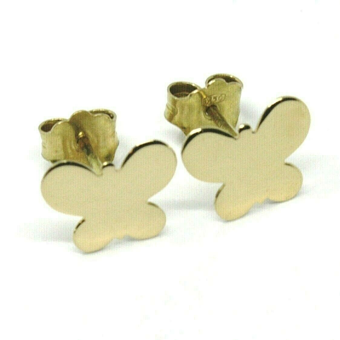 SOLID 18K YELLOW GOLD EARRINGS FLAT BUTTERFLY, SHINY, SMOOTH, 8x10 MM