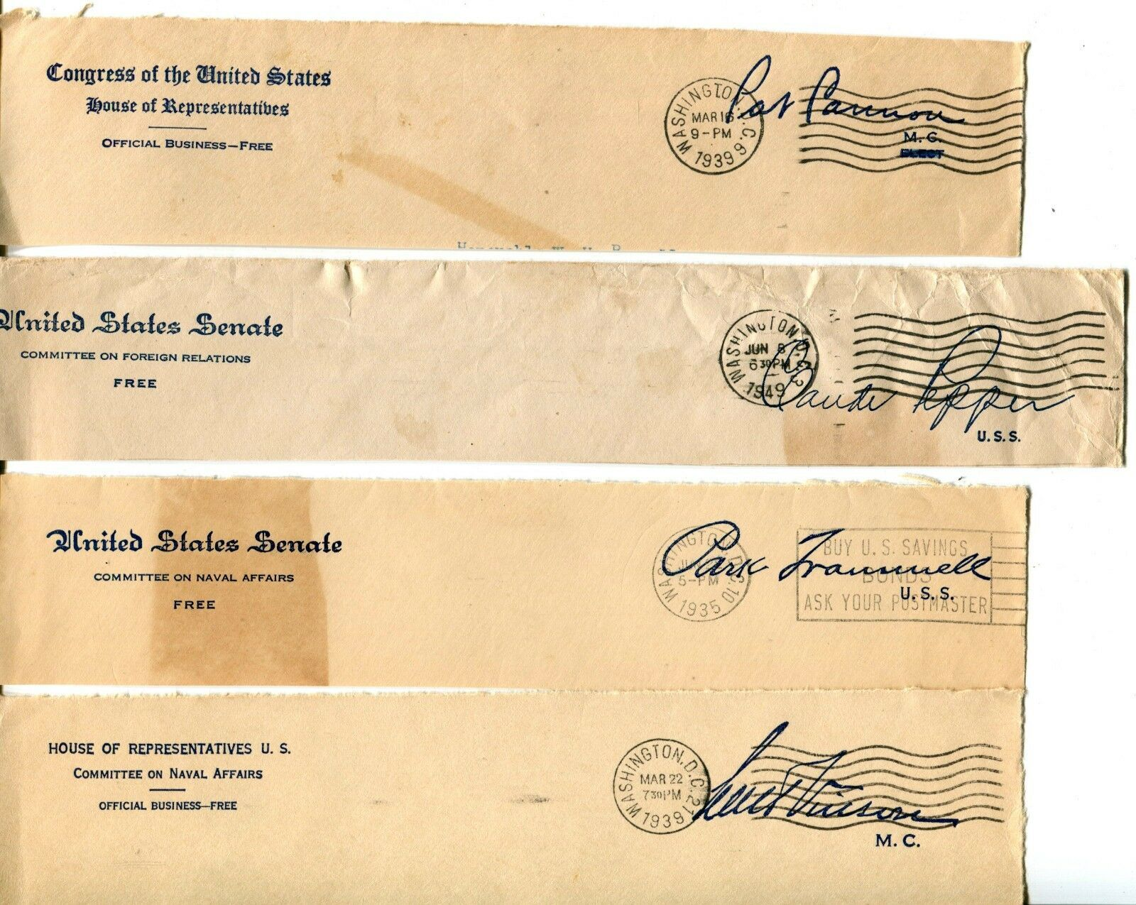 USA Senate House of Representatives Free Postage Cover Envelope Cuts Washington image 3