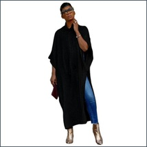 Long Loose Cashmere Cape Tunic Hoodie Open Slit Sides Five Colors And Four Sizes image 2