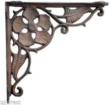 "Decorative Flower Wall Shelf Bracket Antique Style Cast Iron Leaf Brace 9.375"" - $19.27"
