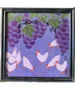 Grapes and Chickens, Chinese Silk Screen Print, Framed Print - $23.00