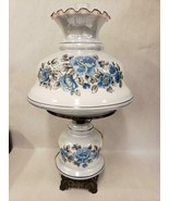 Vintage Gone With the Wind Large Hurricane Parlor Lamp Blue Floral Roses... - $197.99