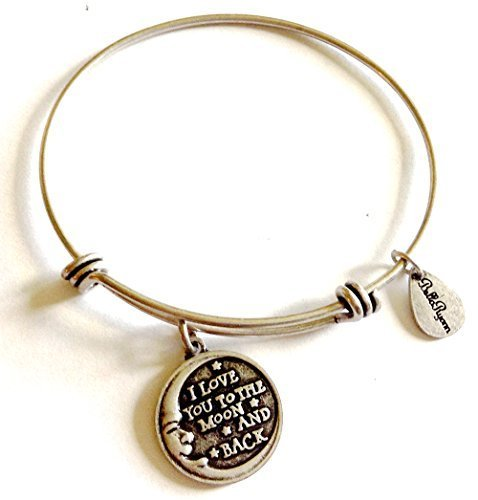 Bella Ryann I Love You to the Moon and Back Silver Charm Bangle Bracelet
