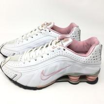 6b397518d4a8 Women  39 s Nike Shox R4 White Pink Running Shoes Sneakers 104265 Sz 5.5
