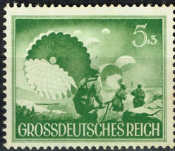 1944 WWII Wehrmacht Paratroopers Germany Postage Stamp Catalog Number B259 MNH