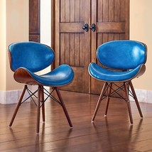 Mid-century Teal Accent Chair Modern Desk Dining Chair Faux Leather Furn... - $303.93