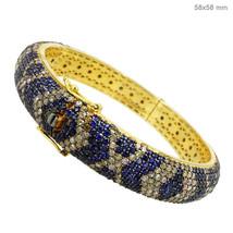 7.8Ct Diamond Pave Sapphire Gemstone 14k Gold Bangle Silver Vintage Look... - $1,969.93