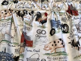"Dairy Farm Barn Cow Rooster Sheep 42""W 15""L Window Curtain Valance Cotton - $12.86"