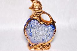 Vintage Collectible Cherub Blue & Gold 1974 James Beam Decanter Barware - $29.00