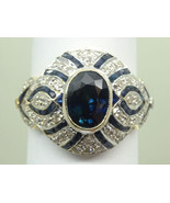Antique Blue Sapphire & Diamond Dome Ring 18k 2-Tone Size 6.75 Gemworld ... - $3,385.00