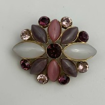 Liz Claiborne Brooch Pin Small Purple Pink Opaque Navette Gold Tone Sign... - $14.80