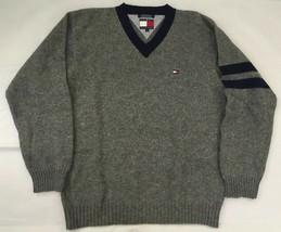 Men's Tommy Hilfiger Wool V-neck Gray & Blue Sweater, Sz L - $36.99
