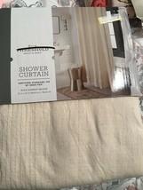"Threshold  Fabric Shower Curtain 72x72"" Beige Garment Washed NEW - $15.29"