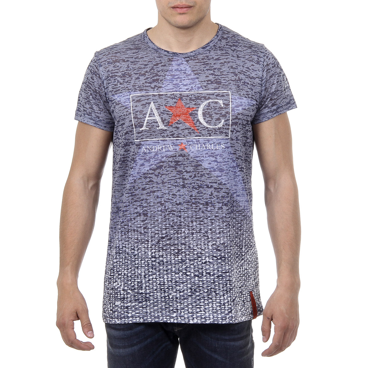 Primary image for Andrew Charles Mens T-Shirt Short Sleeves Round Neck Blue LEVI