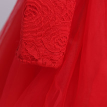 Red Long Sleeve Lace Flower Girls Dress O-Neck Pricess Prom Gowns With Bow 2018 image 3