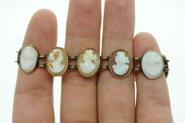 "Art Nouveau (ca. 1900) 14K Yellow Gold Bezel Set 11 Cameo Bracelet (6 5/8"") - $785.00"