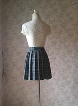 Mini GRAY Plaid Pleated Skirt College Style Pleated Plaid Skirt Plus US0-US18 image 4