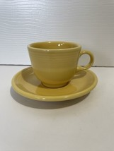 Fiesta Ware Marigold Yellow Teacup And Saucer Set Retired - $12.99