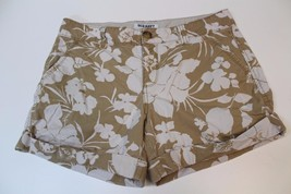 W12786 Womens OLD NAVY Cotton Tan/White Flower Print CASUAL SHORTS sz 8 - $11.65