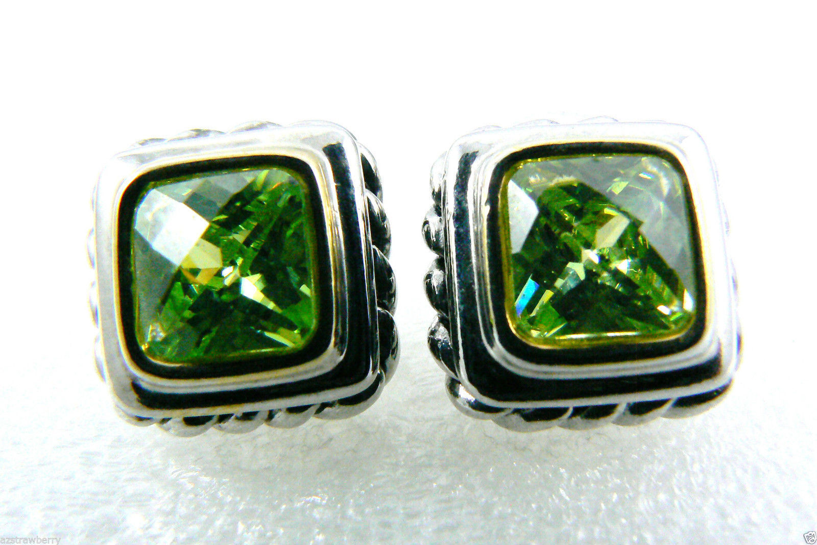 Silver tone Faceted Green Peridot CZ Cubic Zirconia stud earrings $0 sh new image 2