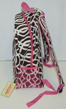 NGIL BIQ403BR Brown White Pink Canvas Backpack Geometric Design image 5