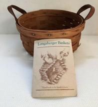 Longaberger 1989 Basket with leather handles & Booklet - $19.24