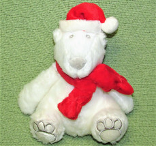 "Bath Body Works Christmas Polar Bear Santa Claus 9"" White Plush Red Hat Scarf - $9.90"