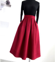 Winter Long Pleated Skirt Warm Woolen Midi Pleated Party Skirt BURGUNDY BLACK image 8