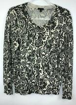 Talbots Womens Size L Cardigan Sparkle Metallic Accent Silver Black Crea... - $22.43
