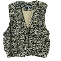 Vintage SK Wear by SK & Co Womens Size 12 Zebra Print Tan Black Vest Lin... - $16.79