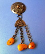 Vintage USSR Art deco Folk Jewelry Brooch pin Sakta w/ Baltic Amber gemstone - $39.20