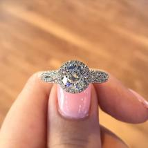 White Gold Plated 925 Silver Round Cut CZ Solitaire With Accents Engagem... - $110.47 CAD