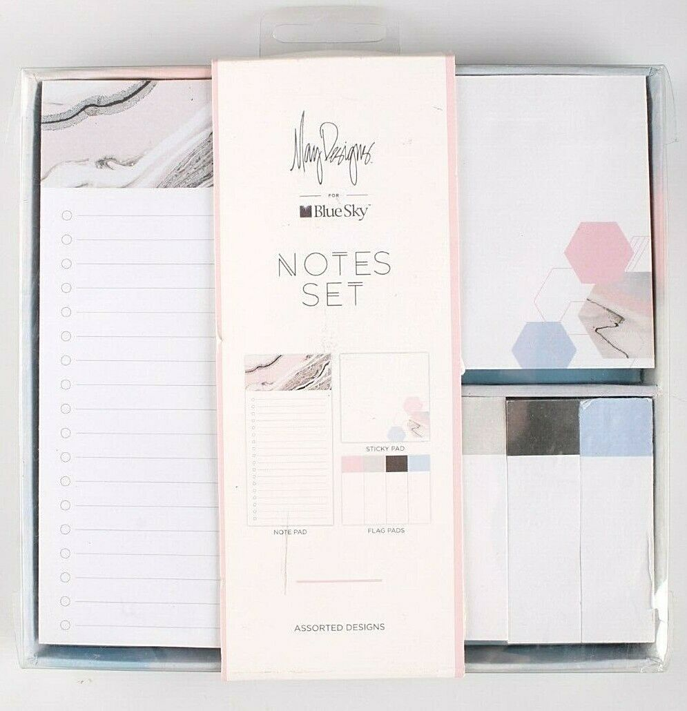 May Designs Blue Sky Sticky Notes Set Note Pad Flag Pads Blue Blush Pink Grey
