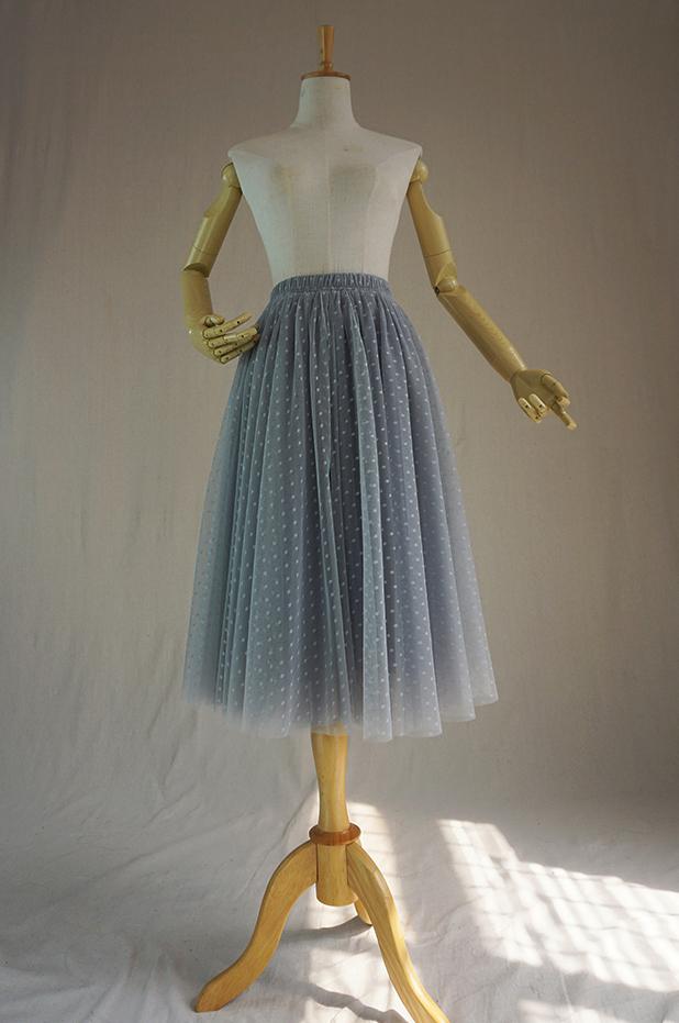 Gray tulle skirt midi 1