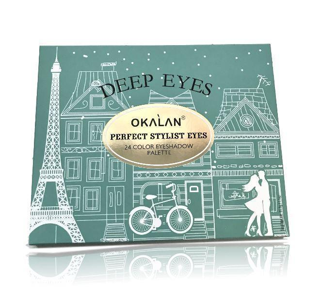 OKALAN DEEP EYES- 24 Color Eyeshadow Palette for Perfect Stylist Eyes- Authentic
