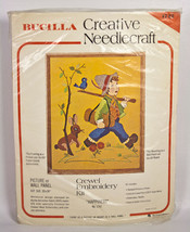 Bucilla Creative Needlecraft Happiness Boy Animals Crewel Embroidery Kit #1742 - $12.95