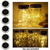 6 Pack Mason Jar Lights, 10 LED Solar Warm White Fairy String Lights Lids For - $45.41