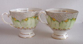 TUSCAN Green Poppy FINE ENGLISH BOINE CHINA ENGLAND TEA CUPS (2) - $19.79