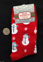 Christmas Novelty GLITTER SNOWMAN SNOWFLAKE CREW SOCKS Holiday Costume S... - $3.93