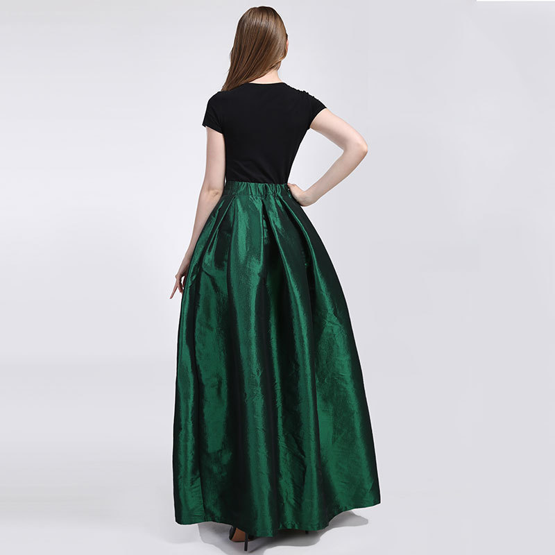 Grace Emerald GREEN A Line Long Ruffle Skirt Taffeta High Waist with Pocket-40in