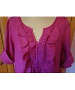 Denim 24/7 Womens Top 22W Pink Blouse with Ruffles Short Sleeve Shirt 30... - $19.99
