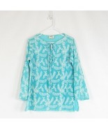 Turquoise blue white floral embroidered 100% cotton MILLY tunic blouse 10 - $34.99