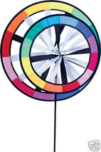 """Rainbow Double Saturn Rings  22"""" Staked Wind Spinner With Pole..19..... ... - $46.98"""