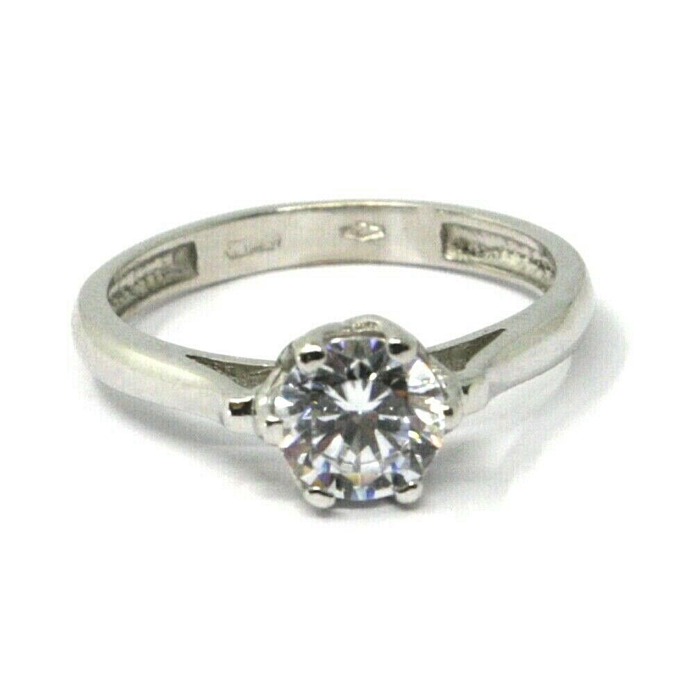 SOLID 18K WHITE GOLD RING, SOLITAIRE WITH CUBIC ZIRCONIA 1.70 CARATS ITALY MADE