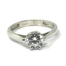 SOLID 18K WHITE GOLD RING, SOLITAIRE WITH CUBIC ZIRCONIA 1.70 CARATS ITALY MADE image 1