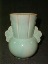 Pottery vase old japan great 2 handle design green retro vintage - $30.00