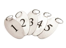Stainless Steel, Key Fobs, Numbered 1 to 5 - Heavy Duty, Oval with Black... - $32.18