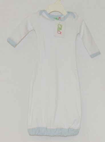 EllieO Seersucker Blue And White Infant Gown Cotton 0 to 3 Months